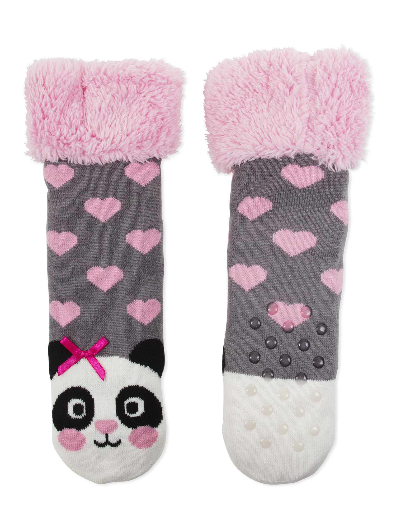 Girl's Panda Acrylic Slippersock With Fur Cuff, 1 Pack