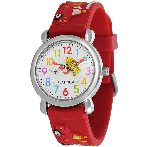 Brinley Co. Boys' Fire Truck Design Watch, Silicone Strap