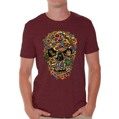 Awkward Styles Fauna Skull Tshirt for Men Floral Skull Shirt Sugar Skull Shirts for Men Dia de los Muertos Gifts for Him Day of the Dead T Shirt Sugar Skull Flowers T-Shirt for Men Skull