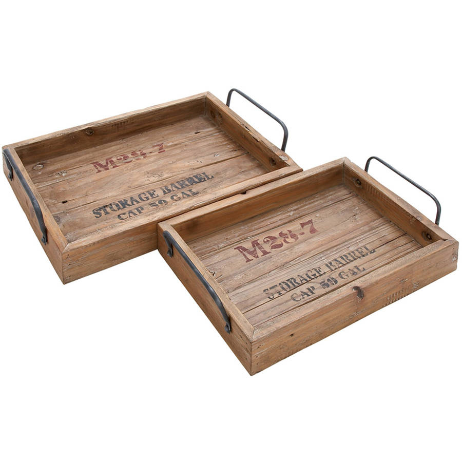 Decmode Wood and Metal Tray, Set of 2, Multi Color
