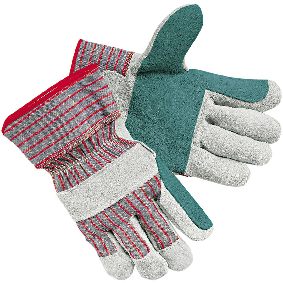 Memphis Men's Economy Leather Palm Gloves, White/Red, Large, 12 Pairs