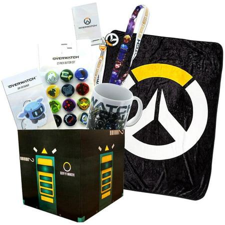 Overwatch Collectibles |Collectors Looksee Box | Fleece Blanket | Mug | Pins