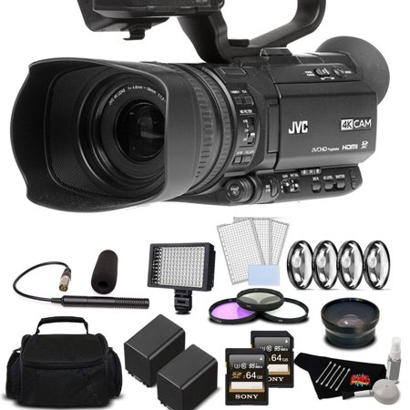 JVC GY:HM180 12.4MP 4K Ultra HD Camcorder with 2X 64GB Memory Cards Deluxe Bundle