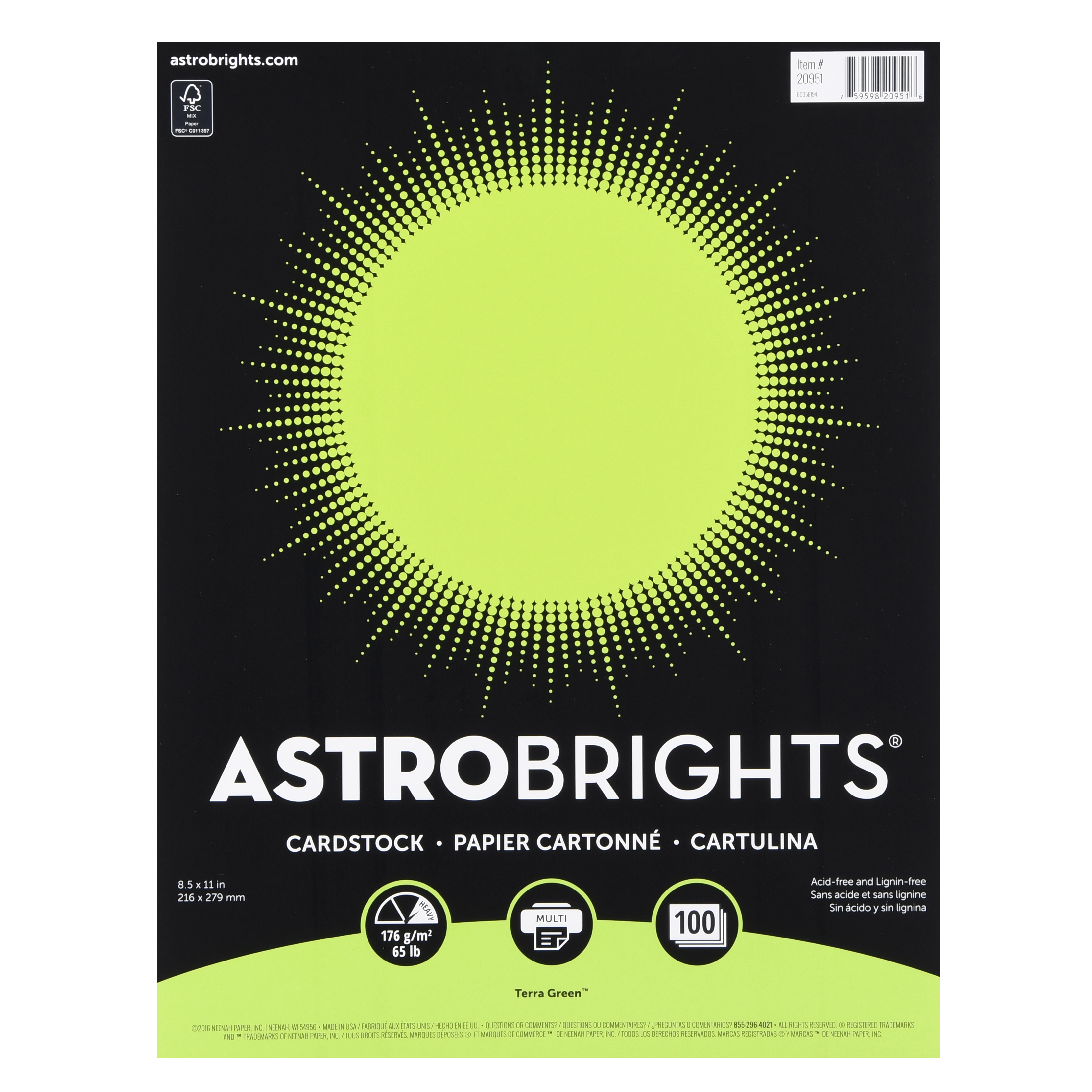 """Astrobrights Colored Cardstock, 8.5"""" x 11"""", 65 lb/176 gsm, Terra Green, 100 Sheets"""