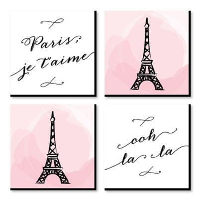 Paris, Ooh La La - Kids Room, Nursery Decor and Home Decor - 11 x 11 inches Kids Wall Art - Set of 4 Prints ()