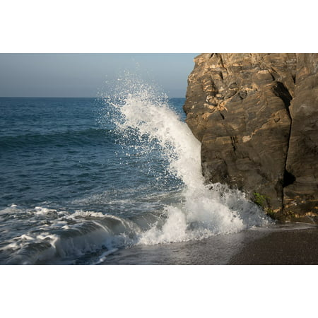 Canvas Print Wave Sea Foam Water Beach Breakwater Rocks Stretched Canvas 10 x 14
