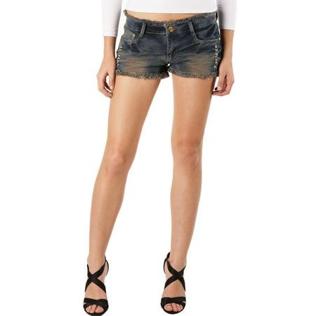 Women's Low Rise Frayed Raw Hem Ripped Denim Jean - Low Rise Denim Jean Shorts