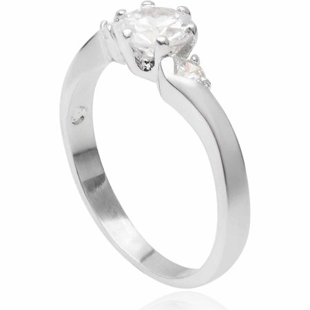 Image of Alexandria Collection 1-1/10 Carat T.G.W. Round CZ Sterling Silver Bridal Ring