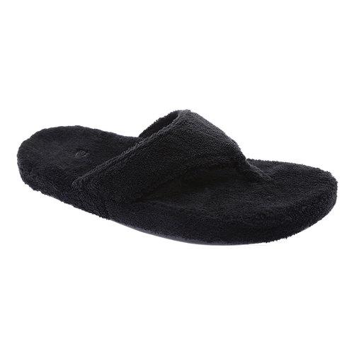 Acorn Womens New Spa Thong Slippers - Black