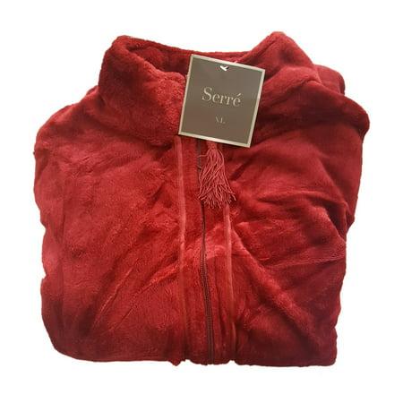 Serre' Women's Velvet Plush Robe Zipper Front w/ Tassels - Red, - Red Velvet Robe