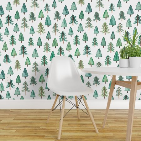 Peel and Stick Removable Wallpaper Watercolor Evergreens Trees Woodlan