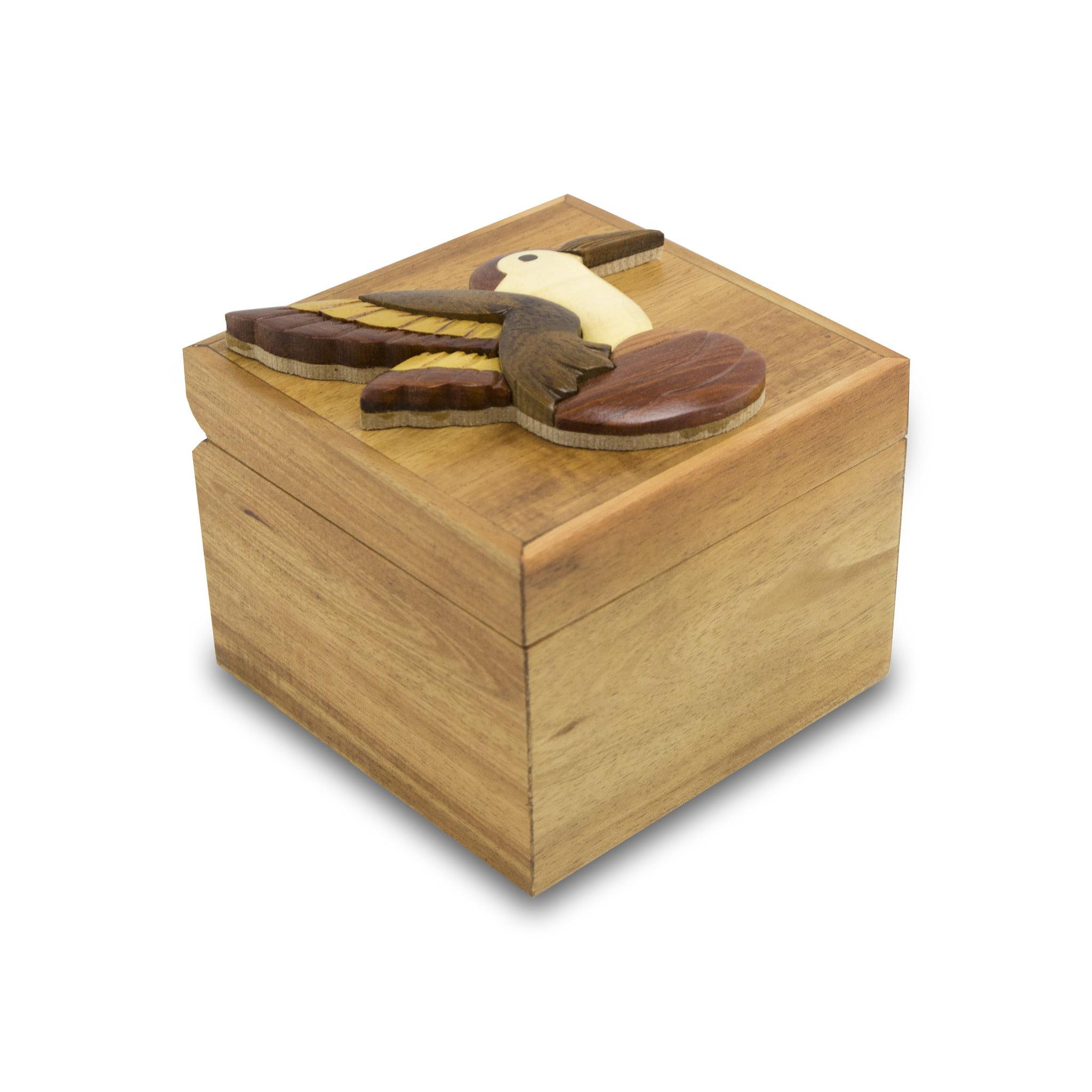 NEW! Intarsia Wood Cremation Keepsake Box - Hummingbird