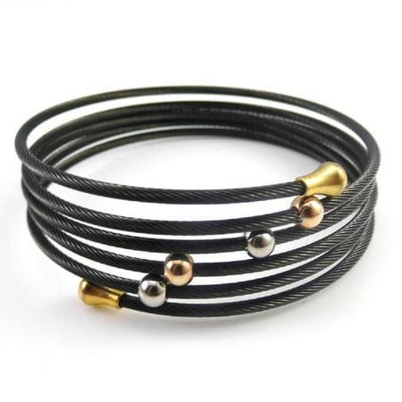 DIANE LO'REN 18kt Gold Plated Stainless Steel Wire Wrap Bracelet (Black)