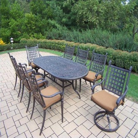 Oakland living belmont 9 piece oval patio dining room set for 9 piece living room set