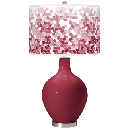Color + Plus Antique Red Mosaic Giclee Ovo Table Lamp