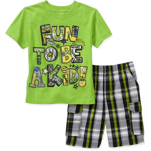 Garanimals Baby Boys' 2-Piece Graphic Tee and Plaid Short Set