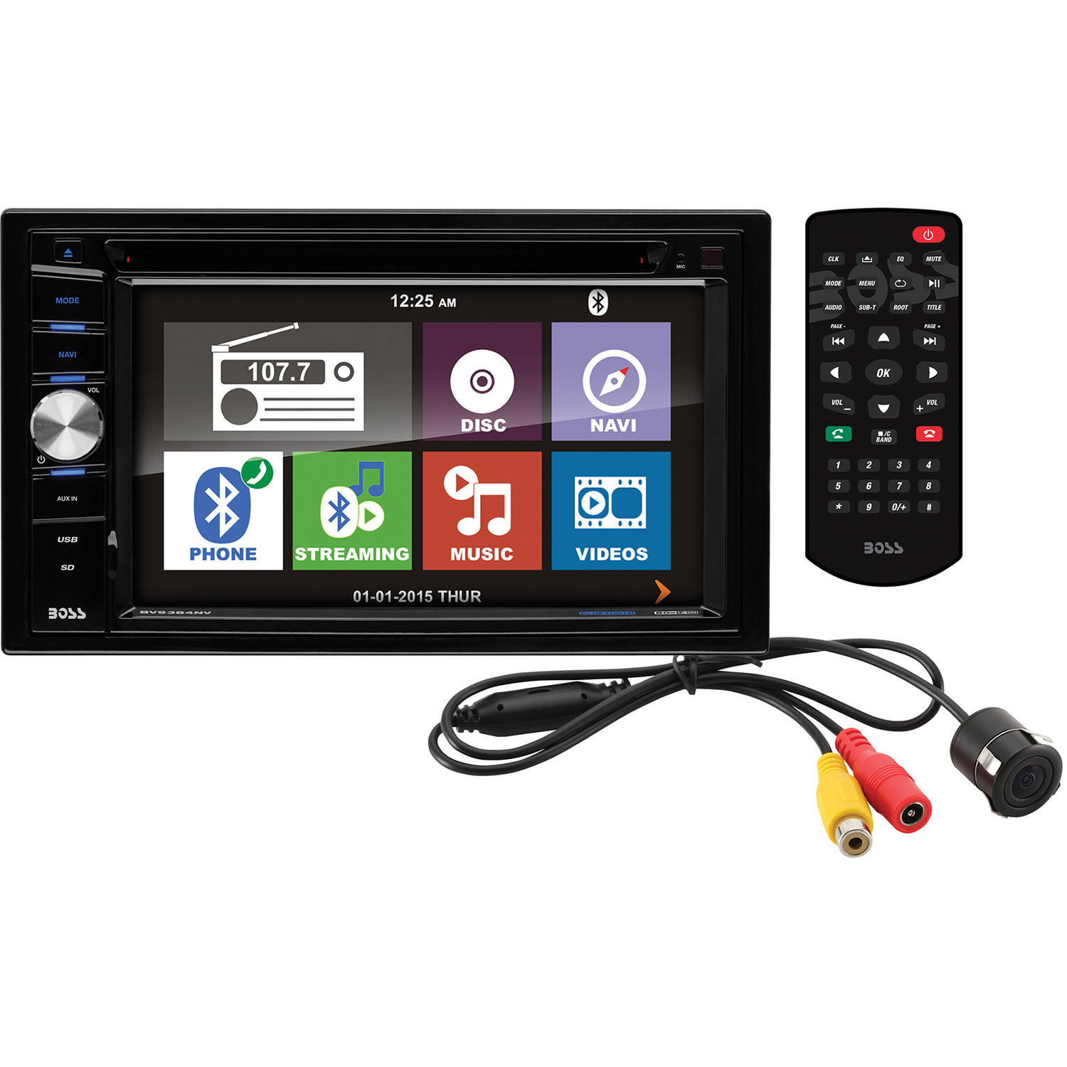 """Boss Audio BVNV9384RC In-Dash Double-DIN 6.2"""" Touchscreen Monitor with Navigation, Bluetooth, DVD Player and Backup Camera"""