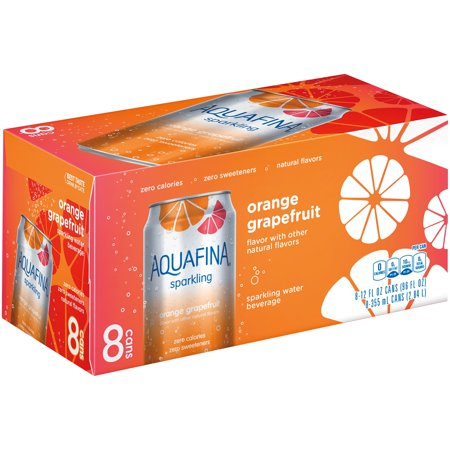 Aquafina Sparkling Water, Orange Grapefruit, 8 Fl Oz, 8 Count