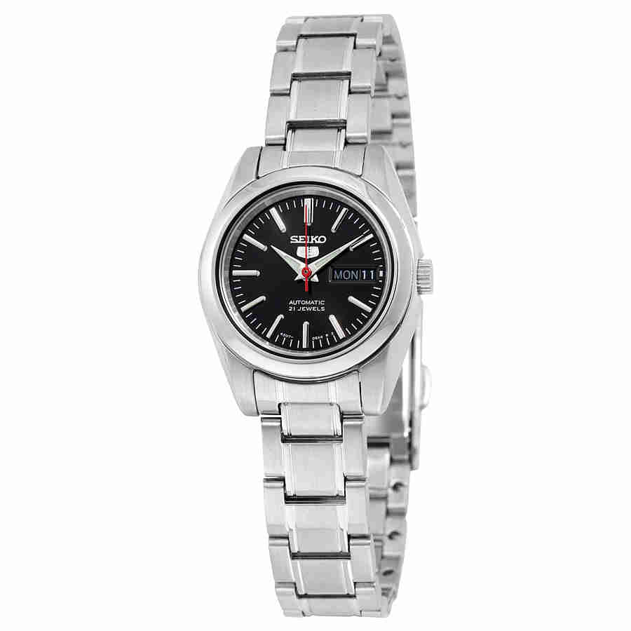 Seiko 5 Automatic Black Dial Stainless Steel Ladies Watch...
