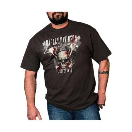 Harley-Davidson Men's Almighty Speed & Power Short Sleeve T-Shirt, Tar, Harley - Harley Davidson Novelties