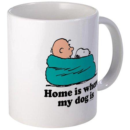 CafePress - Charlie Brown: Home Is Where My Dog Is Mug - Unique Coffee Mug, Coffee Cup CafePress ()