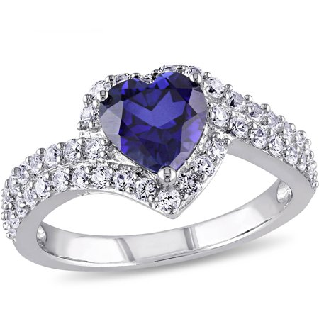 2-3/4 Carat T.G.W. Created Blue and White Sapphire Sterling Silver Heart Bypass Engagement Ring ()
