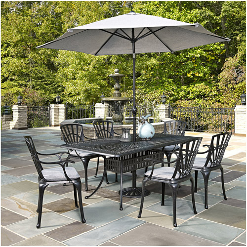 Home Styles Largo 7-Piece Dining Set with Umbrella and Cushions, Charcoal