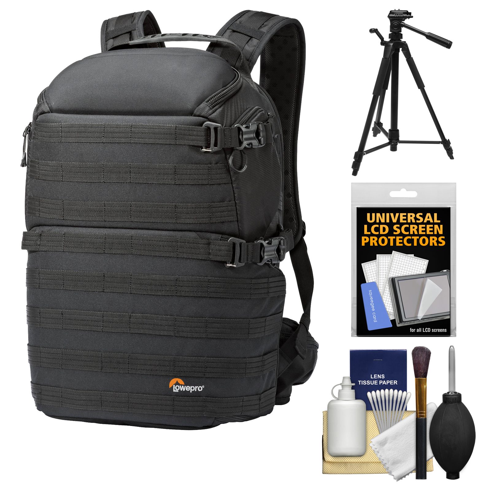 Lowepro Pro Tactic 450 AW Digital SLR Camera Backpack Case (Black) with Tripod + Accessory Kit by Lowepro