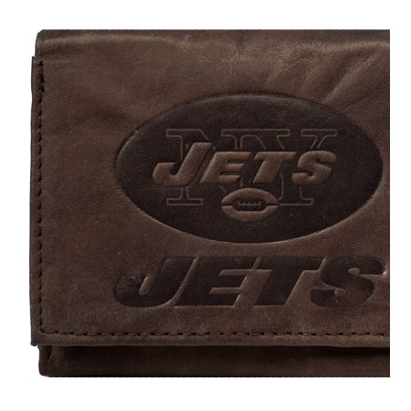 New York NY Jets Embossed Logo Dark Brown Leather Trifold Wallet