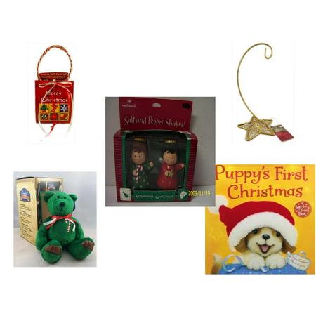 Five Star Base - Christmas Fun Gift Bundle [5 Piece] - Musical Gift Card Holder - Gold Glitter Star Base Ornament Hanger - Hallmark Seasons Greetings Salt and Pepper Shaker Set - Limited Treasures  Edition Green Can