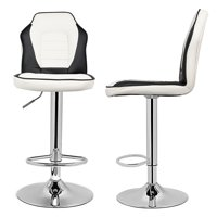 Extra Comfort Modern Racing Seat Bar Stools Chair Adjustable Swivel Mixed Color Set of 2 White/Black