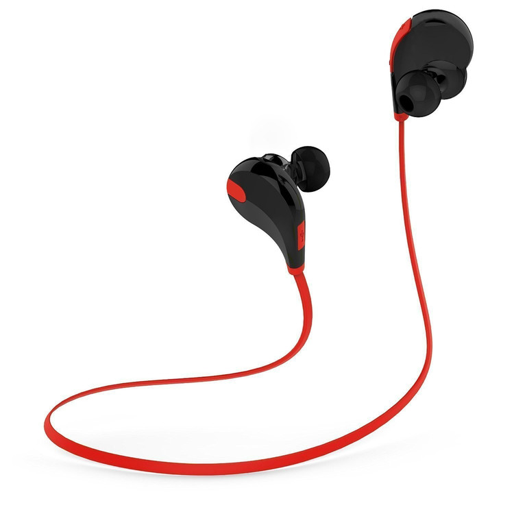 Wireless Bluetooth Headphones In Ear Sport Earbuds for Gym/Workout (Bluetooth 4.1, CVC 6.0 Noise Cancelling, 6 Hours Talk time, Stereo, Secure Ear Hooks Design) - Red