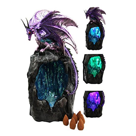Figurine Incense Burner (Purple Azurite Quartz Dragon Climbing On Gemstone Mountain Backflow Incense Burner Figurine Faux Stone )