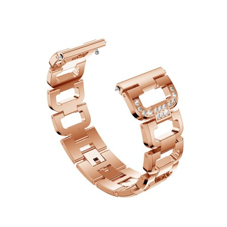 Fashion Bling Band for Fitbit Versa, Premium Stainless Steel Metal Watch Replacement Strap Bracelet for Fitbit Versa Fitness Wristband, Fits 5.1