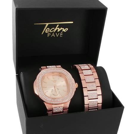 - Men's Iced Out Square Face Steel Back Rose Gold Watch Bracelet Gift Set