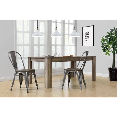 Dorel Home Products Fusion Metal Dining Chair with Wood Seat, Set of 2,
