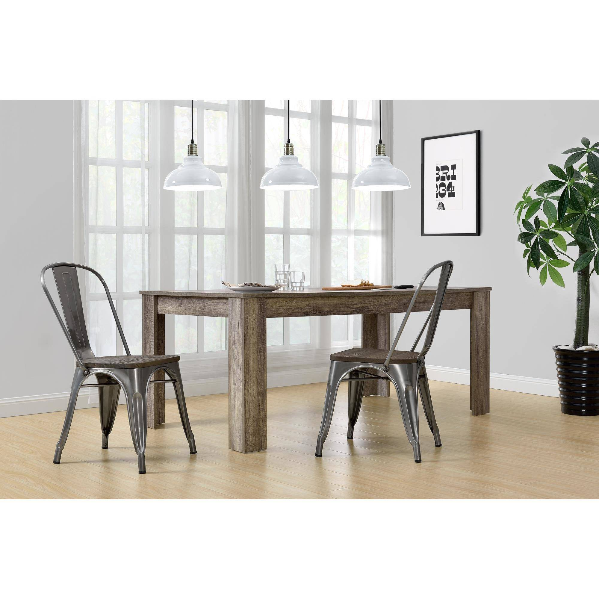 Dorel Home Products Fusion Metal Dining Chair With Wood Seat, Set Of 2,  Multiple