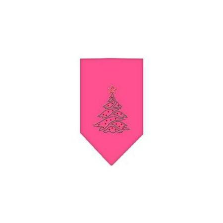 - Christmas Tree Rhinestone Bandana Bright Pink Large