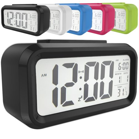 Snooze Electronic LED Digital Alarm Clock Backlight Time Calendar Thermometer -
