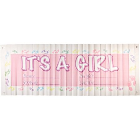 It's A Girl Sign Banner Party Accessory (1 count) (1/Pkg)