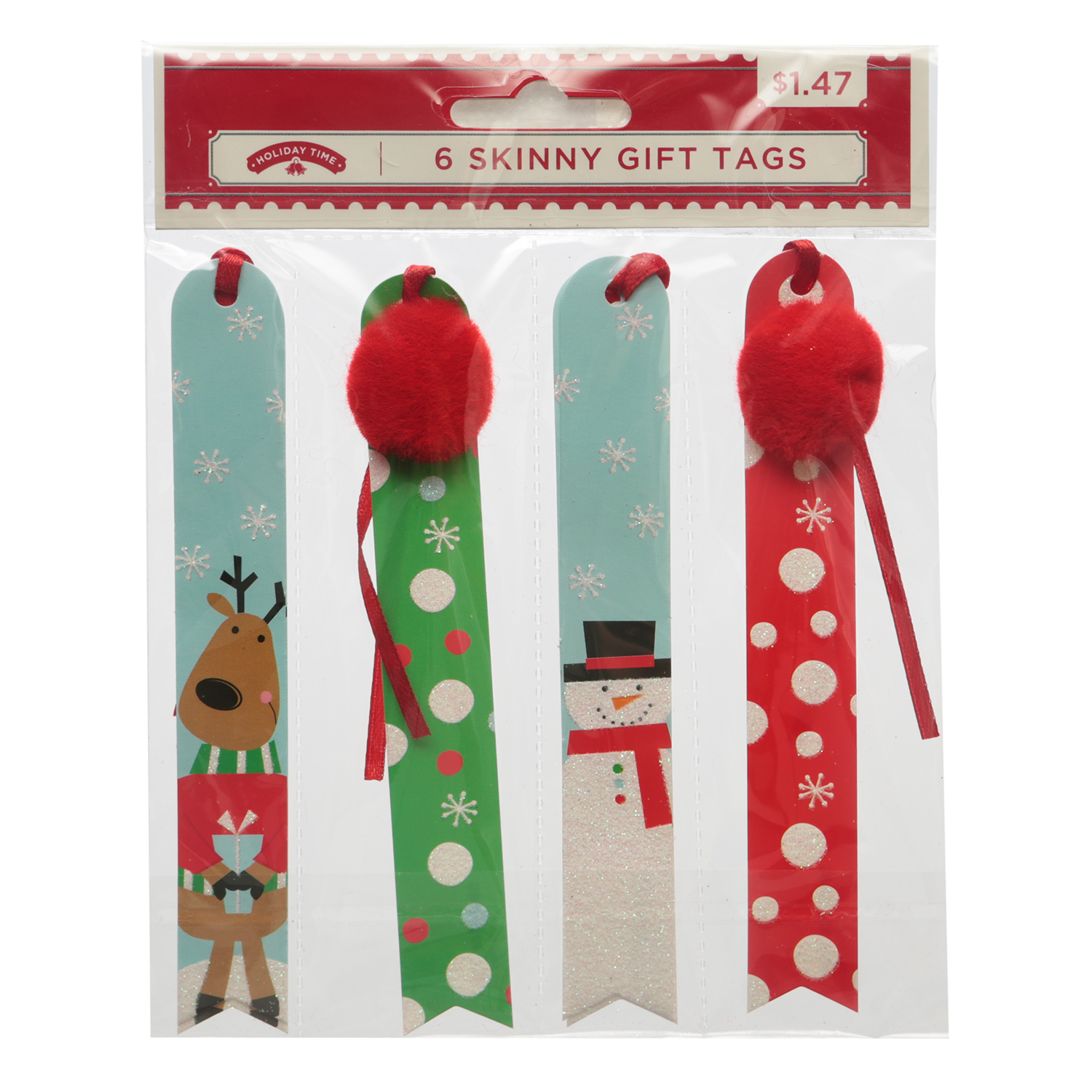 Holiday Time 6ct Skinny Juvy Tags
