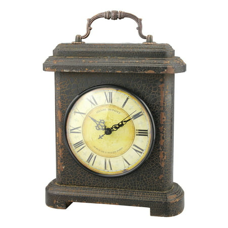 Stonebriar Collection Graphite Wood and Metal Mantel Tabletop Clock Leaf Tabletop Clock