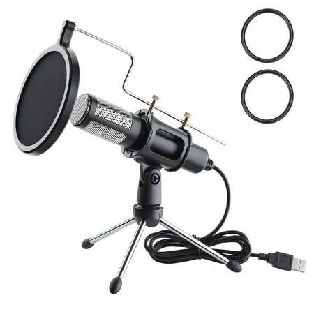 Yescom Condenser USB Microphone with Tripod Stand for Game Chat Skype YouTube Studio Audio Recording