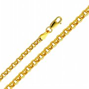Precious Stars SEC0152200 Yellow Gold 3. 8 mm.  Hollow Rolo Chain 20 inch Necklace