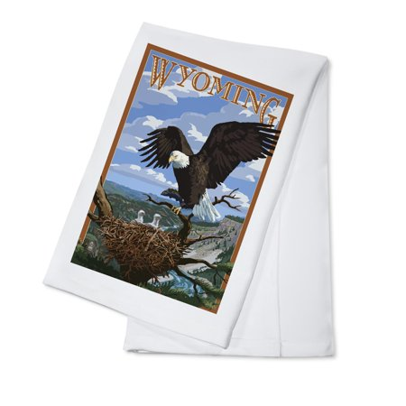Eagle and Chicks - Wyoming - Lantern Press Poster (100% Cotton Kitchen Towel)