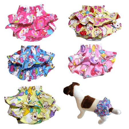 - WASHABLE Dog Cat Diaper SKIRT Female Girl Pants Reusable Ruche for SMALL Pet BLUE sz Small (waist: 8