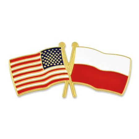 Pinmart S Usa And Poland Crossed Friendship Flag Enamel Lapel Pin