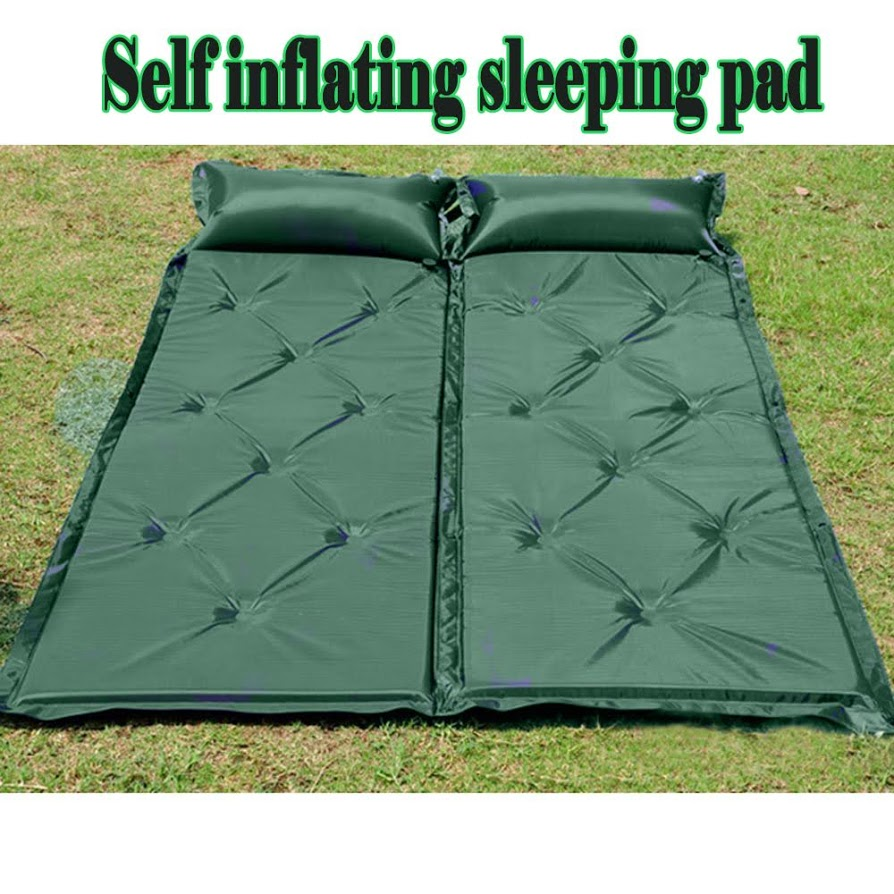 Sleeping Pad with Attached Pillow, Self Inflating Sleeping Pad, Lightweight Inflatable Foam Padding Sleeping Mat for Camping Backpacking Hiking
