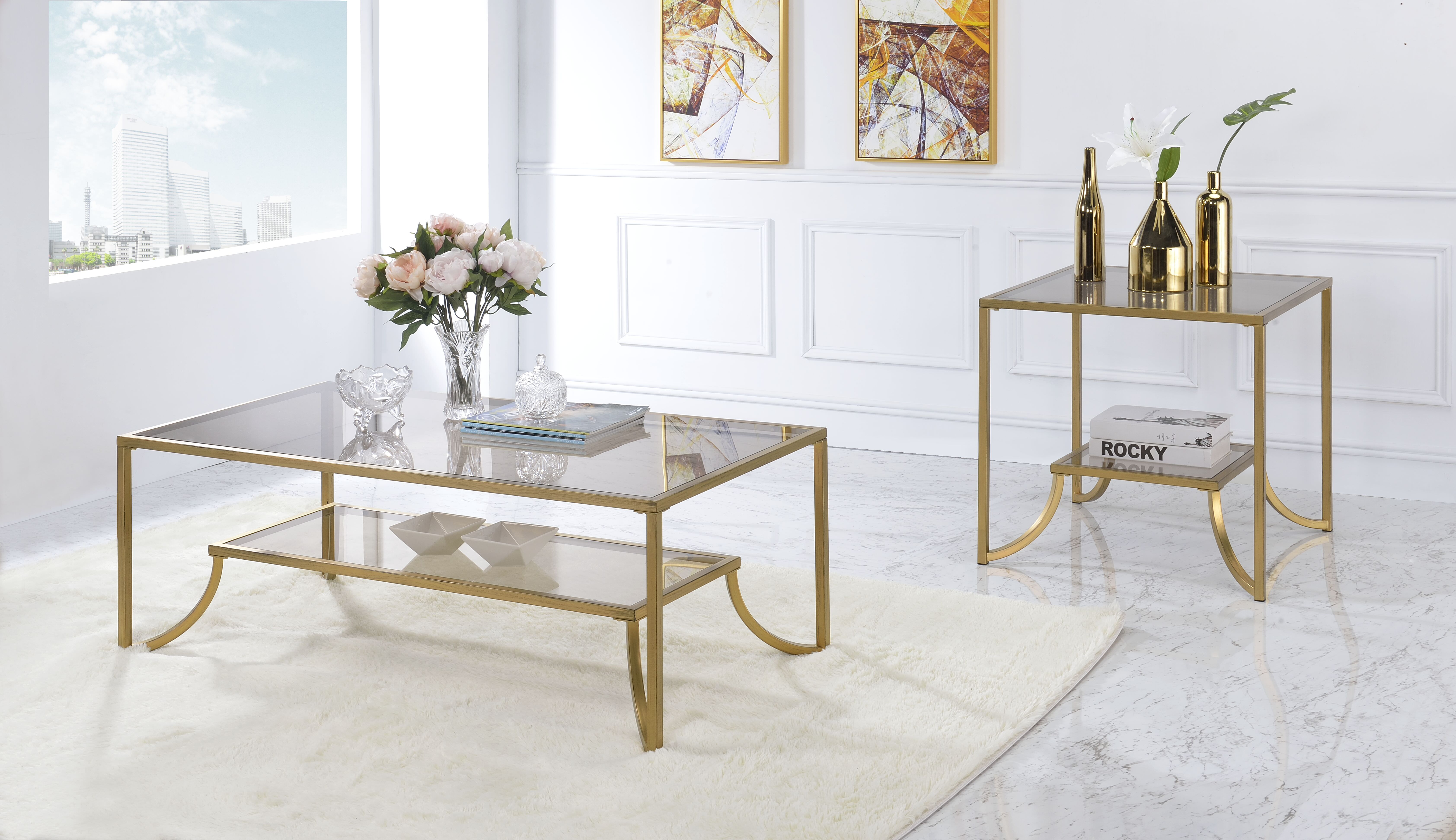 Gentil Acme Magalie Coffee Table In Antique Gold And Smoky Glass