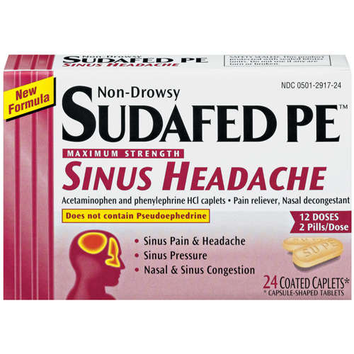 Sudafed Pe Maximum Strength Non-Drowsy Caplets Sinus Headache 24 ct